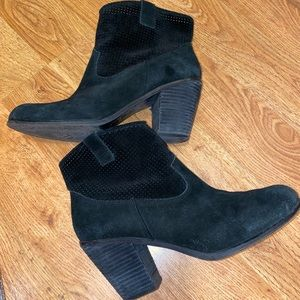 Vince Camuto Perforated Suede Heel Booties CAVA